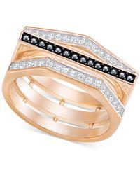 Swarovski - Rose Gold-tone Clear & Black Pavé Ring - Lyst