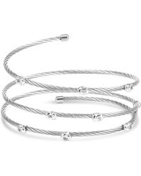 Charriol - White Topaz Accent Coil Wrap Bangle Bracelet In Stainless Steel And Sterling Silver - Lyst