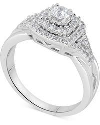 Macy's - Diamond Tiered Halo Engagement Ring (5/8 Ct. T.w.) In 14k White Gold - Lyst