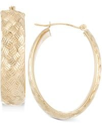 Macy's - Wide Textured Oval Hoop Earrings In 14k Gold - Lyst