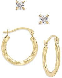 Macy's - 2-pc Set Cubic Zirconia Studs And Twisted Hoop Earrings In 10k Gold - Lyst