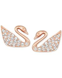 Swarovski - Rose Gold-tone Crystal Swan Stud Earrings - Lyst
