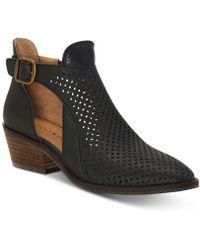 59249c30c932 Lyst - Lucky Brand Women s Boomer Low Heel Ankle Booties in Black