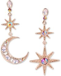 Betsey Johnson - Gold-tone Multi-stone Star & Moon Mismatch Drop Earrings, Created For Macy's - Lyst