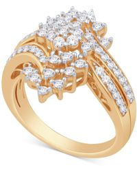 Macy's - Diamond Cluster Statement Ring (1 Ct. T.w.) In 14k Gold - Lyst
