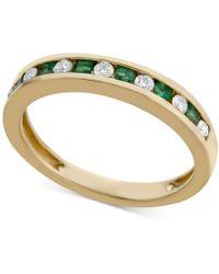 Macy's - Emerald (1/4 Ct. T.w.) & Diamond (1/5 Ct. T.w.) Band In 14k Gold - Lyst