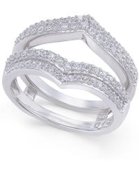 Macy's - Diamond Double V Solitaire Enhancer Ring Guard (1/2 Ct. T.w.) In 14k White Gold - Lyst