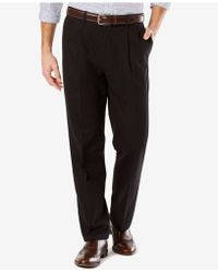 Dockers - Men's Signature Classic-fit Khaki Pleated Stretch Pants - Lyst