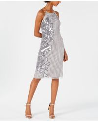 Adrianna Papell - Beaded Sequin-embellished Dress - Lyst