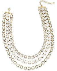 ABS By Allen Schwartz - Gold-tone Crystal And Stone Layer Necklace - Lyst