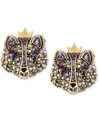 Betsey Johnson - Gold-tone Crystal Fox Stud Earrings - Lyst