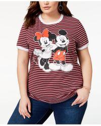Disney - Plus Size Striped Mickey & Minnie Mouse T-shirt - Lyst