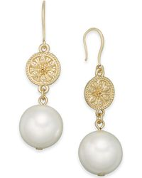 Charter Club - Gold-tone Coin & Imitation Pearl Drop Earrings - Lyst