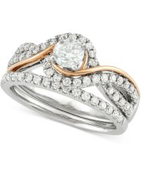 Macy's - Diamond Two-tone Overlap Bridal Set (7/8 Ct. T.w.) In 14k White And Rose Gold - Lyst