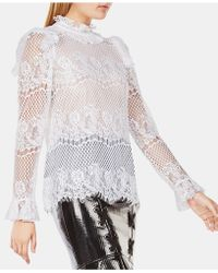 BCBGMAXAZRIA - Ruffled Lace Top - Lyst