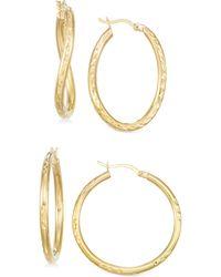 Macy's - Set Of Two Textured Hoop Earrings In 14k Gold Vermeil - Lyst