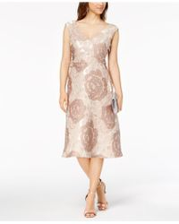 Adrianna Papell - Lace-up Floral Brocade Dress - Lyst