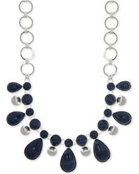"Nine West - Silver-tone Stone Statement Necklace, 16"" + 2"" Extender - Lyst"