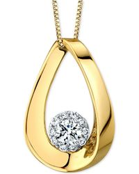 "Macy's - Diamond Halo Polished Teardrop 18"" Pendant Necklace (1 Ct. T.w.) In 14k Gold & White Gold - Lyst"