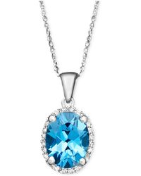 Macy's - 14k White Gold Necklace, Blue Topaz (2 Ct. T.w.) And Diamond Accent Oval Pendant - Lyst