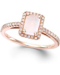 Macy's | Opal (1/2 Ct. T.w.) And Diamond (1/5 Ct. T.w.) Ring In 14k Rose Gold | Lyst