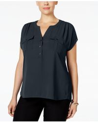 INC International Concepts - Plus Size Short-sleeve Blouse - Lyst