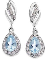 Macy's - Aquamarine (3/4 Ct. T.w.) & Diamond (1/3 Ct. T.w.) Drop Earrings In 14k White Gold - Lyst