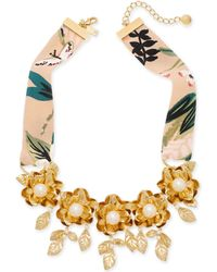 "Kate Spade - Gold-tone Crepe Fabric Imitation Pearl Flower Statement Necklace, 17"" + 3"" Extender - Lyst"