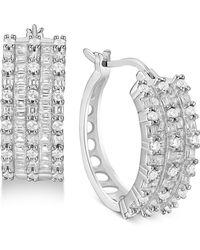 Macy's - Cubic Zirconia Small Huggie Hoop Earrings In Sterling Silver - Lyst