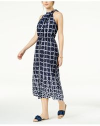 Maison Jules - Printed Neck-tie Midi Dress, Created For Macy's - Lyst