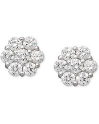Arabella - 14k White Gold Earrings, Swarovski Zirconia Cluster Stud Earrings (1-5/8 Ct. T.w.) - Lyst