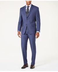 Marc New York - Modern-fit Stretch Denim Blue Windowpane Suit - Lyst
