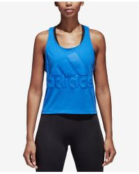 adidas - Sport Id Cotton Cropped Racerback Tank Top - Lyst