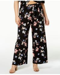 Soprano - Trendy Plus Size Printed Tie-waist Trousers - Lyst