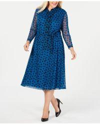 Anne Klein - Plus Size Printed Long-sleeve Dress - Lyst