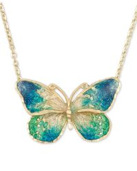 """Macy's - Ceramic Butterfly Pendant Necklace In 14k Gold, 16"""" + 1"""" Extender - Lyst"""