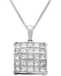 Macy's - Diamond Square Cluster Pendant Necklace (1 Ct. T.w.) In 14k White Gold - Lyst