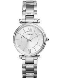 Fossil - Women's Carlie Stainless Steel Bracelet Watch 35mm - Lyst