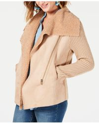 Style & Co. - Petite Faux-shearling Knit-sleeve Jacket, Created For Macy's - Lyst