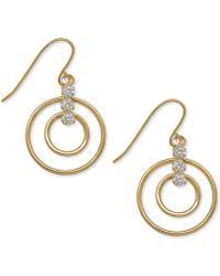 Macy's - Open Circle Cubic Zirconia Drop Earrings In 10k Gold, 1 Inch - Lyst