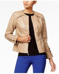 Alfani   Ruffled-trim Faux-leather Jacket   Lyst