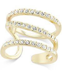 INC International Concepts | Gold-tone Triple Band Pavé Statement Ring | Lyst