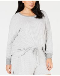 Alfani - Plus Size Brushed Hacci Knit Striped Pajama Top, Created For Macy's - Lyst