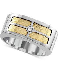 Macy's | Men's Diamond Accent Inlay Ring In 18k Gold And Stainless Steel | Lyst