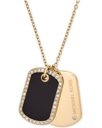 Michael Kors | Pavé & Stone Dog Tags Pendant Necklace | Lyst