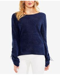 Vince Camuto - Drawstring-sleeve Pointelle Jumper - Lyst