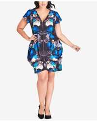 City Chic - Trendy Plus Size Electric Rose Printed Dress - Lyst