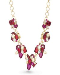 Catherine Malandrino - Red And Magenta Rhinestone Yellow Gold-tone Cluster Style Necklace - Lyst