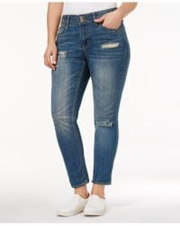 Rampage - Trendy Plus Size Chloe Ripped Long Beach Wash Skinny Jeans - Lyst