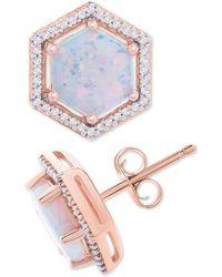 Macy's - Opal (1-1/2 Ct. T.w.) & Diamond (1/8 Ct. T.w.) Geometric Halo Stud Earrings In 14k Rose Gold - Lyst